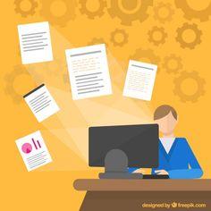 Office Worker in Flat Design Free Vector