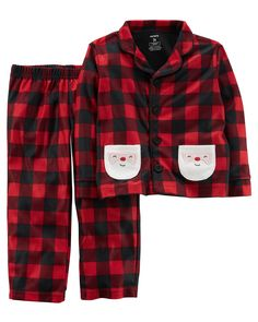 NEW Carter/'s Boys  2 Piece Santa/'s Helper Boy Holiday Pajamas NWT 3T Red Green