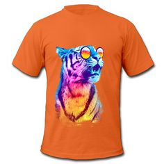 26e80c19e Animal Cool Tiger Orange Adult Standard Weight T-shirt For Men No Minimums- Animals