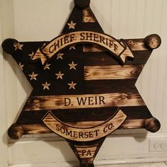 Wooden Sheriff Badge - RYOBI Nation Projects Wooden American Flag, Wooden Flag, Barn Wood Projects, Diy Projects, Wood Badge, Sheriff Badge, Wooden Wreaths, Flag Art, Woodworking Projects