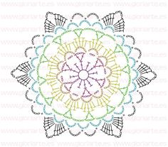 Patterns and motifs: Crocheted motif no.Crochet pattern for scarves, blouses, blankets . Motif Mandala Crochet, Crochet Snowflake Pattern, Crochet Mandala Pattern, Crochet Snowflakes, Crochet Diagram, Crochet Chart, Crochet Squares, Crochet Stitches, Crochet Patterns