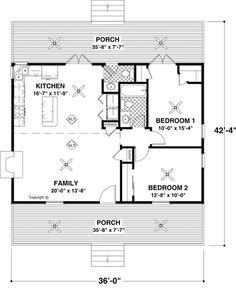 First Floor Plan of Cape Cod   Vacation   House Plan 92376