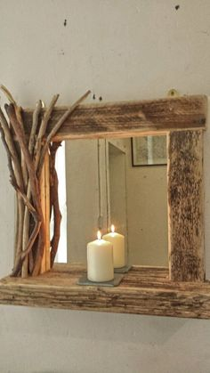 Rustic reclaimed driftwood mirror with shelf and decorated frame in Home, Furniture & DIY, Home Decor, Mirrors Driftwood Furniture, Driftwood Mirror, Rustic Furniture, Diy Furniture, Bespoke Furniture, Furniture Projects, Scandinavian Furniture, Street Furniture, Garden Furniture