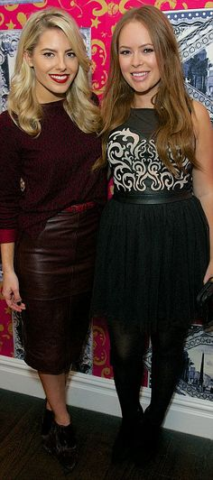 Mollie looks stunning with blogger Tanya Burr in her burgundy outfit at the #LovedByMollie launch party.