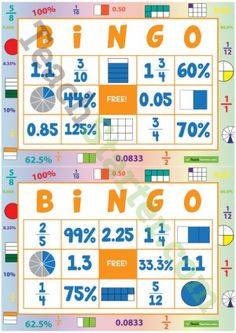 Teaching Resource: 32 different bingo cards using fractions, decimals and percentages. Fractions Ks2, Fractions Decimals And Percentages, Math Fraction Games, Math Games, Decimal Games, Math Graphic Organizers, Math Projects, Math Numbers, Teaching Math