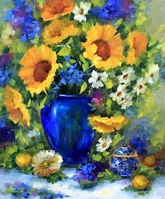 Midnight Garden Sunflowers and a Tennessee Workshop by Texas Artist Nancy Medina, painting by artist Nancy Medina