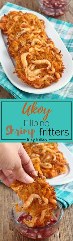 Get this easy Ukoy recipe, the Filipino crunchy shrimp fritters using sweet potato. | http://www.foxyfolksy.com