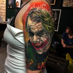 Joker tattoo is probably one of the most popular tattoos among the comic fans. People are fascinated by the Joker. Best Sleeve Tattoos, Sexy Tattoos, Body Art Tattoos, Tattoos For Guys, Tattoo Girls, Tatoos, Ink Tattoos, Batman Joker Tattoo, Joker Art