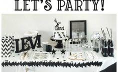Uma festa infantil P&B e temática! Luxosa, clean ou temática. Temos várias opções para quem adora uma decoração preto e branco.