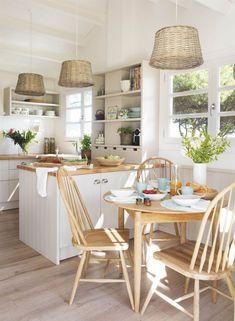 popular farmhouse kitchen decor to remodel your Home Decor Kitchen, Kitchen Interior, New Kitchen, Home Kitchens, Kitchen Dining, Room Interior, Beach Cottage Kitchens, Mini Kitchen, Cozy Kitchen