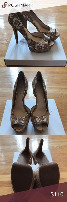 Jessica Simpson shoes new in box. Gorgeous. Jessica Simpson shoes new in box. They are gorgeous. Cork with cream flowers. Jessica Simpson Shoes Heels