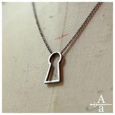 Sterling silver keyhole necklace by ArmsandArmory on Etsy
