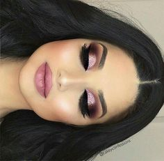 Beautiful full face makeup ideas contour and highlight smokey eyeshadow