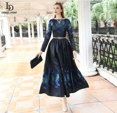 Long Party Dresses O-Neck Gorgeous Beading Belted Casual Loose Floral Print Long Dress Like and share this pure awesomeness! www.sukclothes.co... #shop #beauty #Woman's fashion #Products