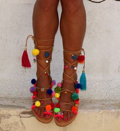 "Pom pom sandals/ Tie up Gladiator Sandals/ Boho Hippie Sandals/ Handmade Greek Women Leather Sandals/ Friendship Boho Flats ""Alegria"""