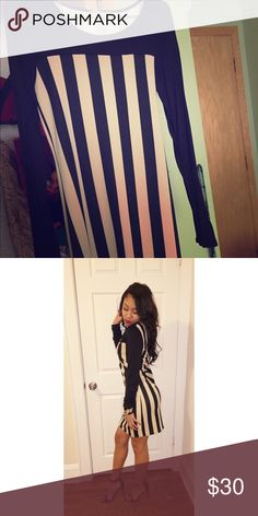 striped fitted dress worn once! Dresses Long Sleeve