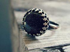 Blue goldstone ring  domed  bezel set  by UntamedMenagerie on Etsy, $30.00