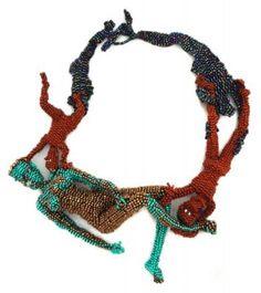 Joyce J. Scott, Dance, 2013, neckpiece, woven glass beads, 228.6 x 152.4 x 50.8 mm, photo: Danielle Freiman