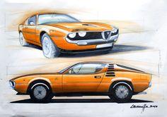 Alfa romeo montreal design sketch by michele leonello - car body design Alfa Romeo, Car Design Sketch, Car Sketch, Montreal, Design Autos, Industrial Design Sketch, Car Drawings, Parcs, Transportation Design
