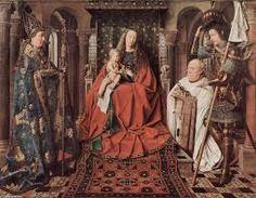 Van Eyck, Madonna del canonico Van der Paele, 1436, Olio su tavola, Museo Groeninge, Bruges.