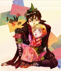 Amaimon and Shiemi from Ao no Exorcist. Art by https://0thefoolnever.deviantart.com