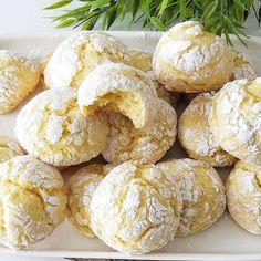 Cracked Cookies with Lemon - Banana Bread Crack Cookies Recipe, Jam Cookies, Lemon Cookies, Easy Banana Bread, Chocolate Banana Bread, Healthy Casserole Recipes, Easy Healthy Recipes, Baking Recipes, Cookie Recipes