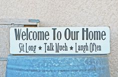 Welcome to our Home Sign by snappydesign on Etsy, $25.00