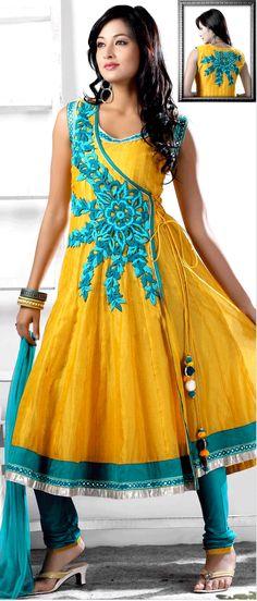 #Yellow Chanderi #silk Readymade Churidar Kameez