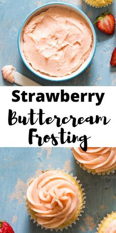 Looking for the best strawberry frosting made with fresh strawberries? This Strawberry Buttercream Frosting is a small batch frosting that makes enough to frost 6-8 cupcakes or one 6-8 inch cake. #homemadeinthekitchen #strawberrybuttercreamfrosting #strawberryfrosting #homemadebuttercream Strawberry Frosting Recipes, Strawberry Buttercream Frosting, Buttercream Recipe, Strawberry Cakes, Easy Baking Recipes, Best Dessert Recipes, Kitchen Recipes, Fun Desserts, Cooking Recipes