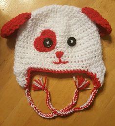 b30ec146b22 Crochet Valentines Puppy Dog Hat 6-12M Newborn Size Infant Baby Red  Photography  Handmade