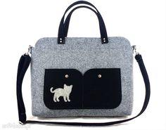 Gray laptop bag with cat laptopa aneta pruchnik torebka filc
