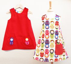 Childrens Clothing- Little girls Russian Doll red Dress.via Etsy.