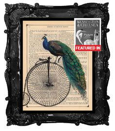ANTIQUE Peacock - art print - vintage Peacock on penny farthing  bicycle bike illustration beautiful dictionary page book art Peacock print