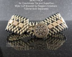 Sueded Gold Wide BEAD PACK BB-38 for SuperDuo and Tile Bracelet Tutorial by ReggiesCreations, Sold Separately