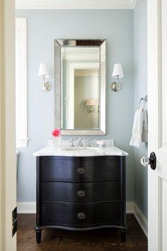 Powder room paint color is Seafoam by Benjamin Moore. The countertop is Venatino… Powder room paint color is Seafoam by … Blue Gray Paint Colors, Room Paint Colors, Wall Colors, Upstairs Bathrooms, Grey Bathrooms, Master Bathrooms, Benjamin Moore, Powder Room Paint, Powder Rooms
