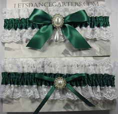 forrest green lace gloves | Green Bow Wedding Garter Set - Forest green satin band with white lace ...