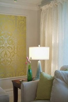 Wallpaper in molding frame - perfect if you don't want to do an entire wall or room.