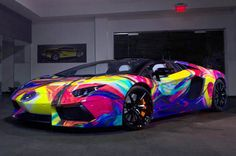 Lamborghini Aventador art car features every color of the rainbow - automobil Luxury Sports Cars, Top Luxury Cars, Exotic Sports Cars, Cool Sports Cars, Super Sport Cars, Cool Cars, Exotic Cars, Lamborghini Aventador Roadster, Carros Lamborghini