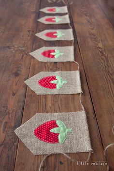 Vintage-style strawberry burlap banner from Little Maisie-strawberry party!