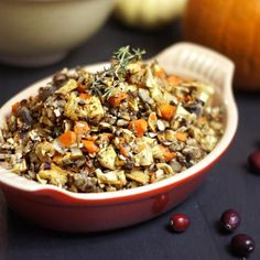 Grain-Free Stuffing. This healthy alternative for Thanksgiving is low-carb and low-fat, and is filled with all the holiday flavors I love!
