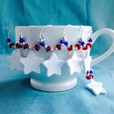 6 Patriotic Military Wine Charms, Coffee or Tea Cup Charm, Hostess Gift, Marine Corps, Army, Navy, Air Force, Coast Guard, Red, White, Blue by KatarooClay on Etsy