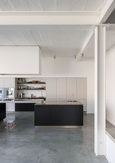 Kove   Nylønfabrik like flat front cabinets combined with open shelving