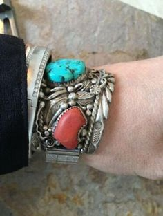Silver Turquoise & Coral Watch Band by Famous J. Coral Turquoise, Red Coral, Silver Apples, Stretch Bands, Apple Watch Bands, Navajo, Turquoise Bracelet, Jewelery, Handmade Items