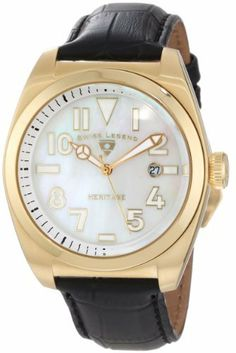 Swiss Legend Men's 20434-YG-02MOP Heritage White Mother-Of-Pearl Dial Watch Swiss Legend. $129.99. White mother of pearl dial with gold tone and white hands, hour markers and Arabic numerals; luminous; screw-down crown. Swiss quartz movement. Water-resistant to 100 M (330 feet). Date window at 3:00. Sapphire crystal; gold ion-plated stainless steel case; black leather strap with alligator pattern