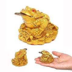 Feng-Shui-Money-Lucky-Fortune-Oriental-Chinese-Wealth-Frog-Frog-Toad-Coin-Decor