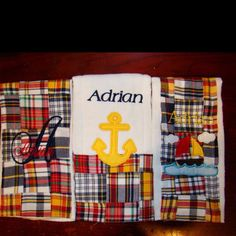 Nautical themed boutique burp cloth set to match pottery barn kids crib set by www.justbeingfrilly.com