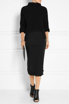 Rick Owens | Asymmetric chunky-knit wool turtleneck sweater | NET-A-PORTER.COM