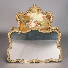 Louis XV Style Gilt Gesso Bipartite Framed Mirror
