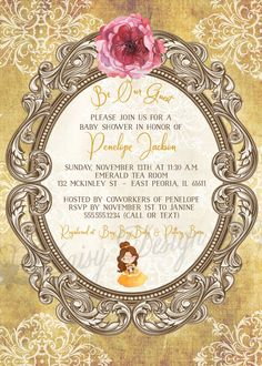 This Baby Shower invitation is full of princess elegance, featuring a vintage damask background and ornate frame paired with a set of characters inspired by Beauty and the Beast.   ♥ T H I S . L I S T I N G . Includes: 4x6 or 5x7 invitation on 80 lb white or ivory cardstock with envelope (or chosen upgrade) . Proofs: After purchasing this listing, your physical proof will be mailed within 3 business days. I am happy to send a FREE digital proof with your preferred text, colors, and fonts…