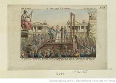 La Veuve Capet à la guillotine : en montant à l'échaffaud, Antoinette marcha par mégarde sur le pied de l'exécuteur des jugemens ; elle se retourna vers lui en lui disant, Monsieur, je vous demande excuse, je ne l'ai pas fait exprès : [estampe] / [non identifié]